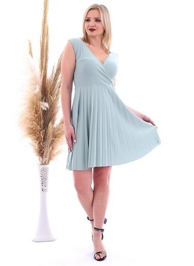 Cottonmood 20070781 Örme Krep Eteği Pliseli Kruvaze Yaka Kolsuz Elbise Vizon Yilan Yeşil